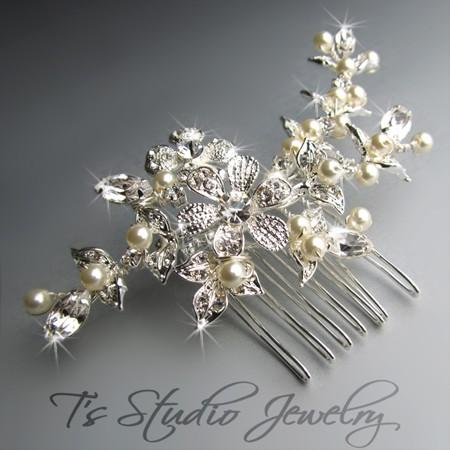 pearl and rhinestone bridal hair b silver with ivory pearls bella weddbook