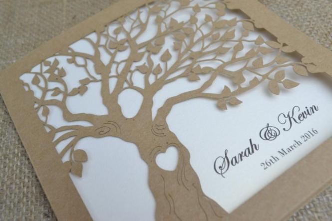 Laser Cut Invitation Rustic Wedding