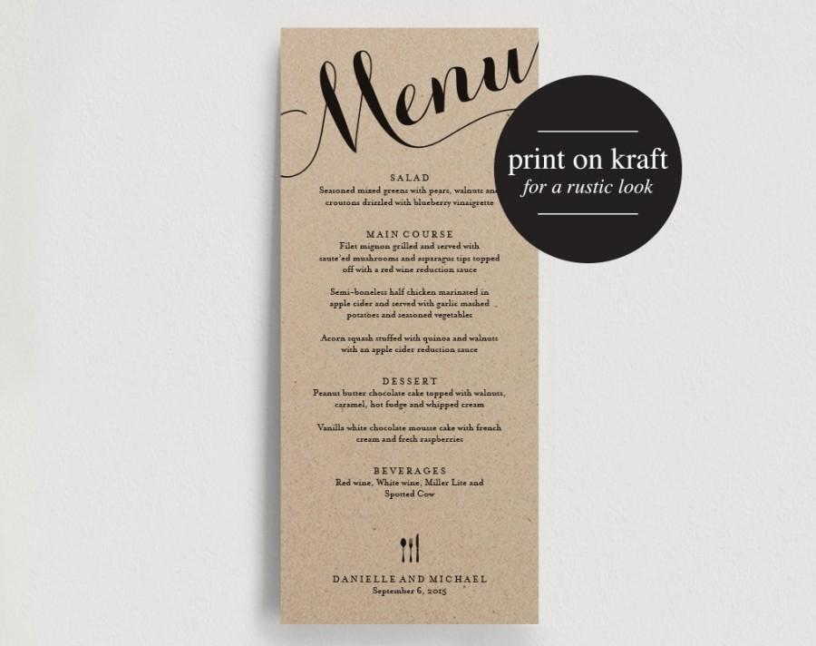 Wedding Menu Printable Template Dinner Menu Printable