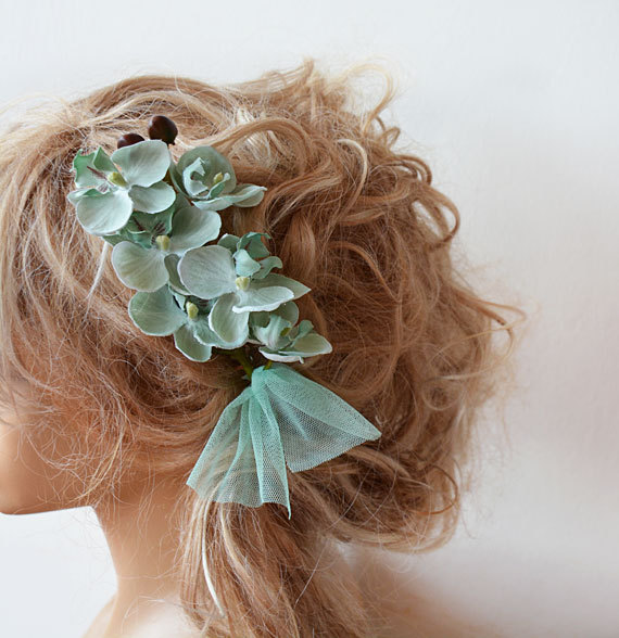 wedding flower comb mint green floral comb woodland bridal headpiece hair flower wedding hair accessories