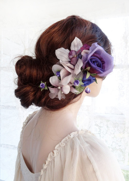 bridal headpiece purple hair flower luxury bridal hair piece wedding headpiece floral headpiece purple hair comb hair accessories