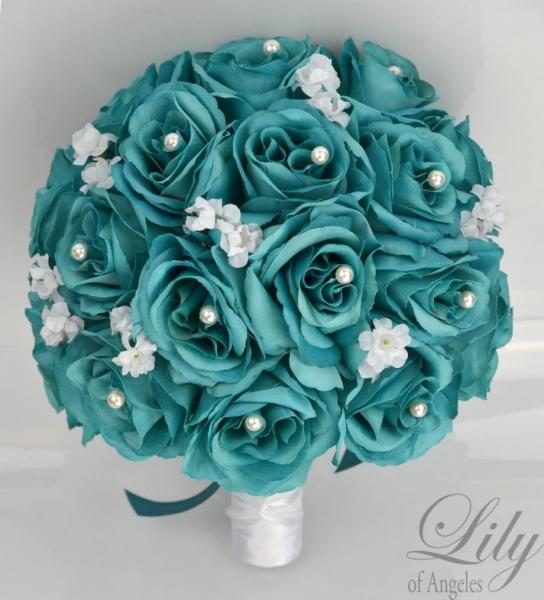17 Piece Package Bridal Bouquet Wedding Bouquets Silk Flowers     17 Piece Package Bridal Bouquet Wedding Bouquets Silk Flowers Bridesmaid  Turquoise Aqua Emerald GREEN TEAL WHITE  Lily of Angeles  TETE01