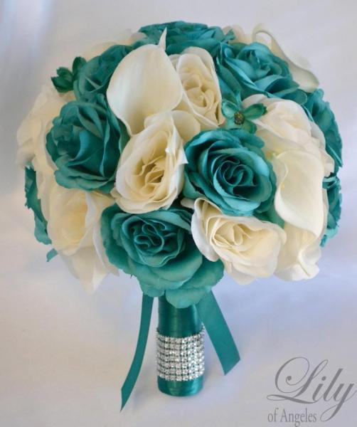 17 Piece Package Bridal Bouquet Wedding Bouquets Silk Flowers     17 Piece Package Bridal Bouquet Wedding Bouquets Silk Flowers Bridesmaid  Bride Calla Lily Emerald GREEN TEAL IVORY  Lily of Angeles  TEIV01