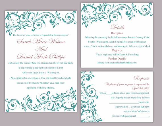 Diy Wedding Invitation Template Set