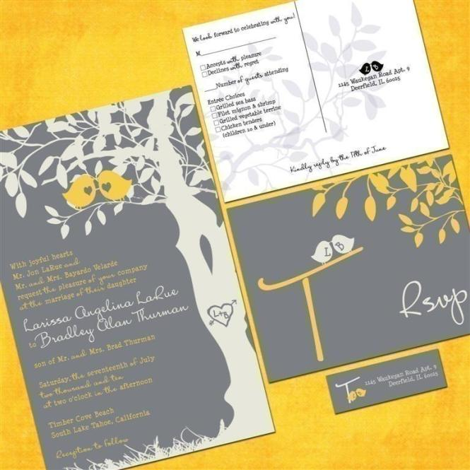 Gray And Yellow Wedding Invitations