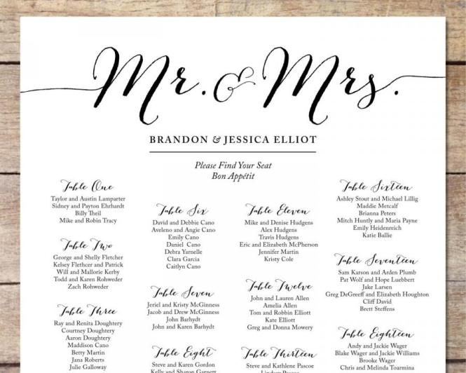 Wedding Seating Chart Template Free Printable. Free: Individual