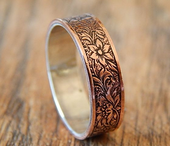 ANTIQUED FLORAL Silver Amp Copper Mens Wedding Ring