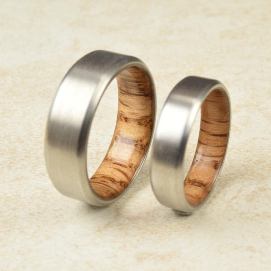 Titanium Amp Red Oak Lined Ring Engagement Ring Exotic
