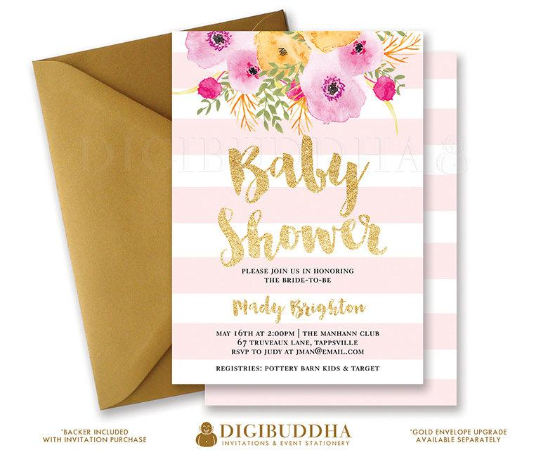 Pink Stripes Baby Shower Invitation Gold Glitter Painterly Watercolor Flowers Girl Modern Free Priority Shipping Or Diy Printable Mady