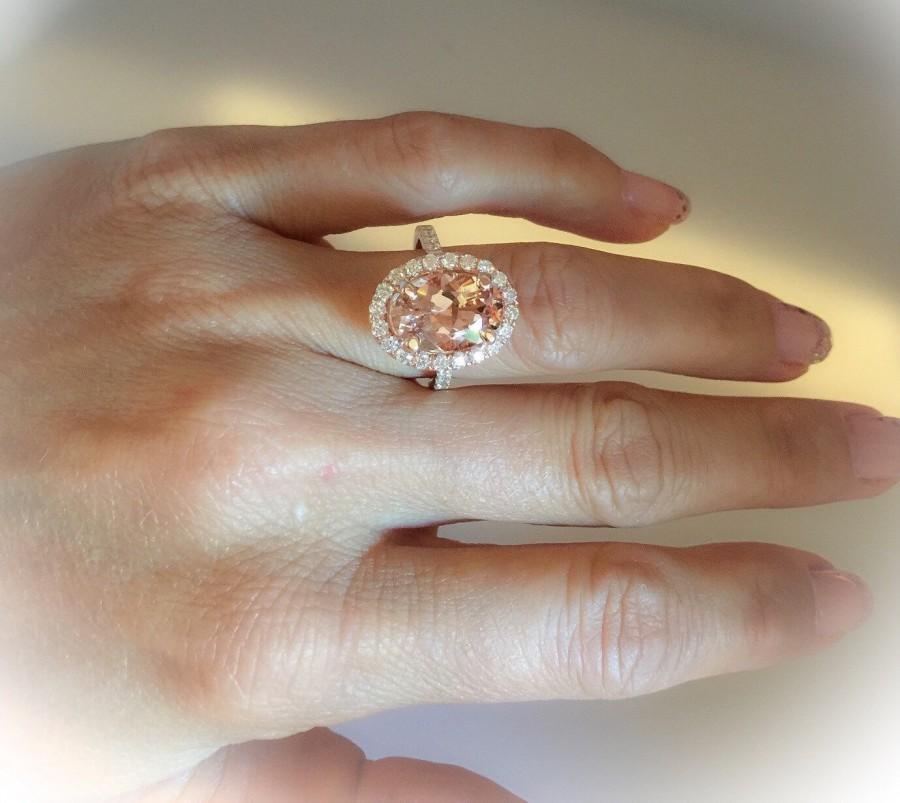Morganite Engagement Ring 14k Rose Gold Oval 402ct