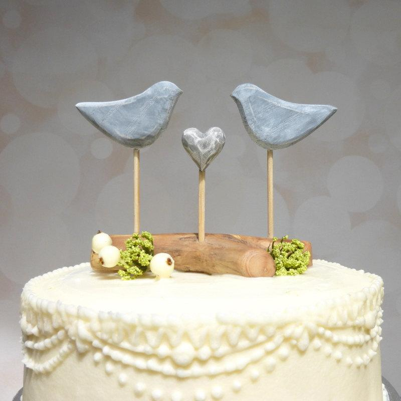 Etsy Wedding Cake Topper  Grey Cake Topper  Love Bird Wedding Topper     Etsy Wedding Cake Topper  Grey Cake Topper  Love Bird Wedding Topper  Bird Cake  Topper with Driftwood