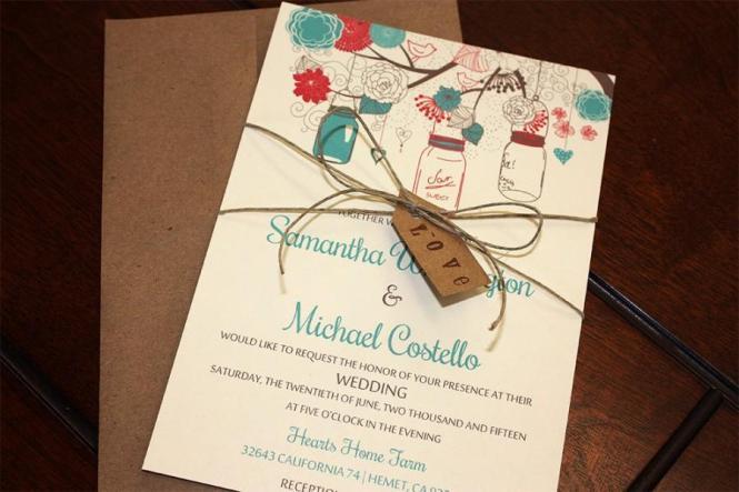 Mason Jar Wedding Invitation With Kraft