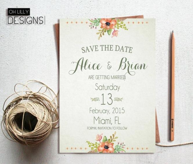 Rustic Save The Date Printable Fl
