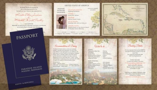 Passport Wedding Invitation Booklets