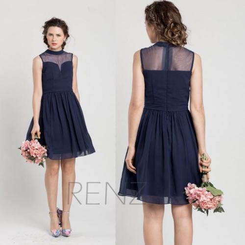 2015 navy blue bridesmaid dress short cocktail dress short
