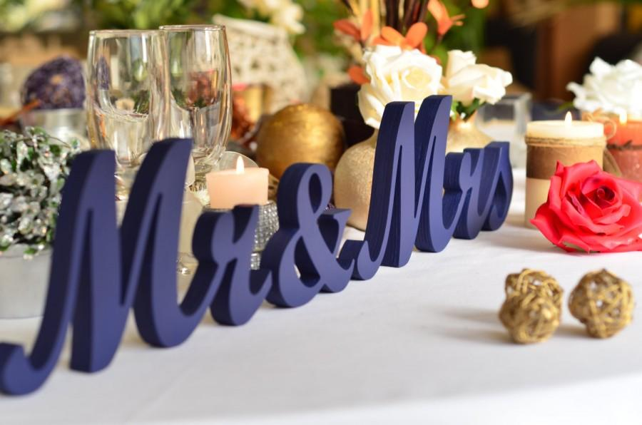 Painted In NAVY BLUE Mr & Mrs Wedding Reception Sign- Mr