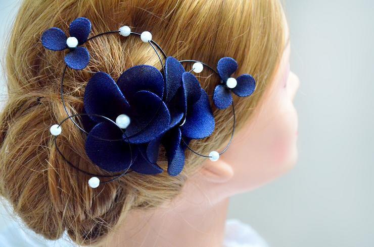 floral headpiece navy headpiece bridal hair clip wedding fascinator wedding hair accessories hair pin