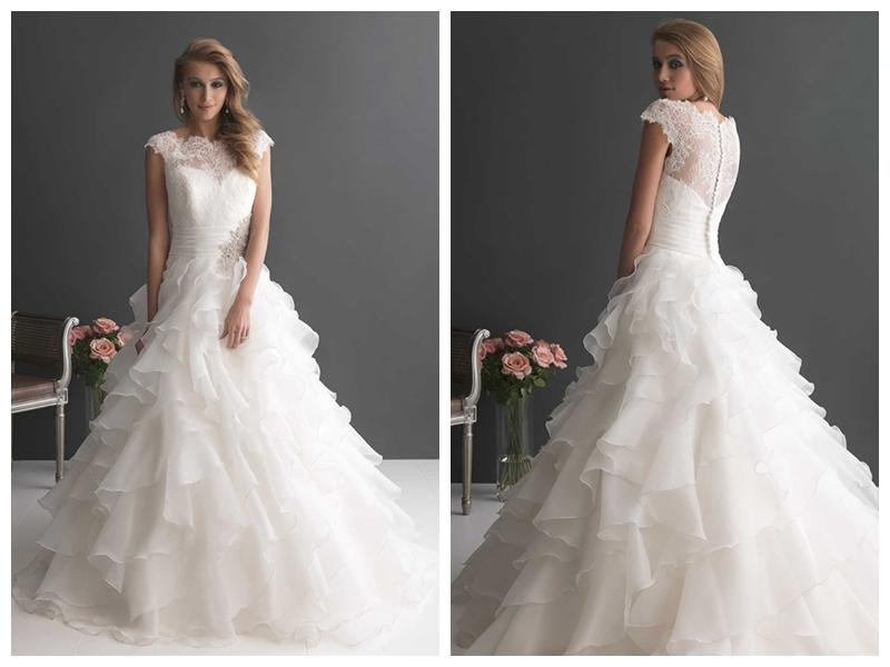 Cap Sleeves Ruffled Layered Ball Gown Wedding Dress With