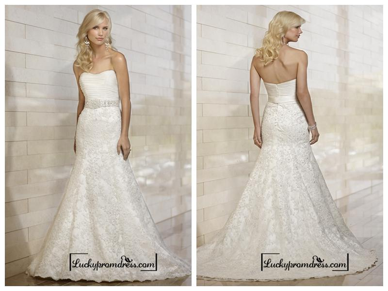 Stunning Strapless Mermaid Pleated Bodice Lace Appliques