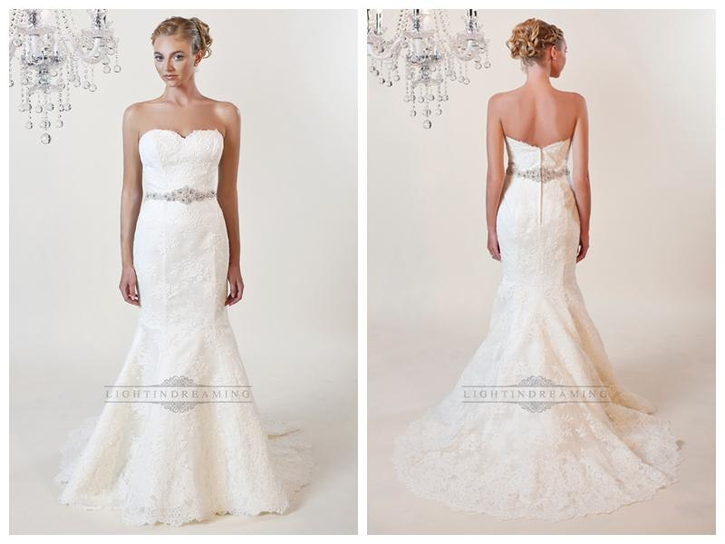 Strapless Mermaid Sweetheart Lace Wedding Dresses With