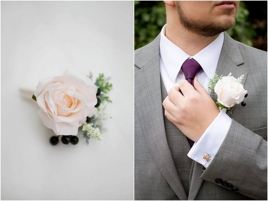 Wedding Flowers, Rose Boutonniere, Ivory Boutonniere