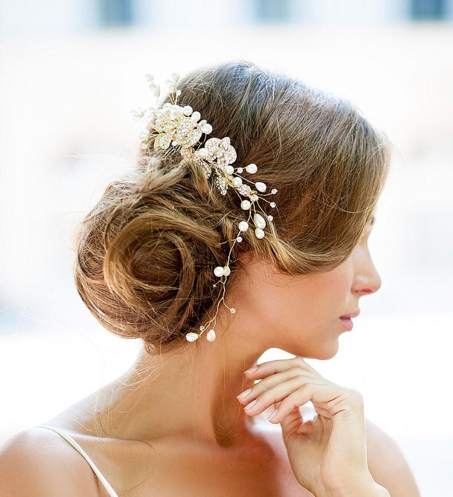 huge dazzling wedding crystal hair piece gold vine hair piece bridal hair comb vintage wedding large pearl comb bridal hair accessory