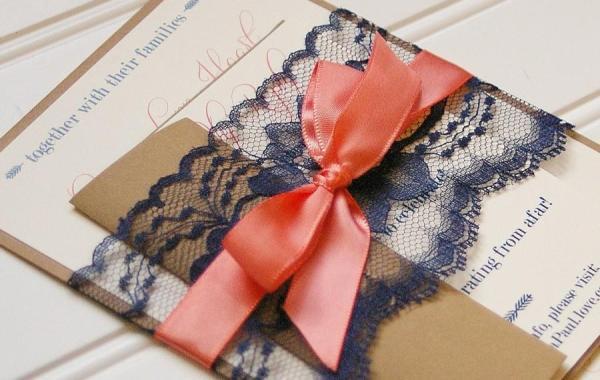 Wedding - Navy and Coral Wedding Invitations. Lace Invitation. Rustic Wedding. Shabby Chic Wedding. Vintage Wedding.