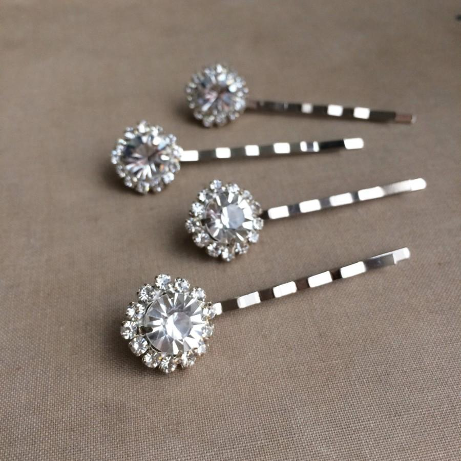 silver hairpin rhinestone hair pin 4 pc bridal hair pin wedding hairpin rhinestone hair accessories art deco hair clip hairclip round