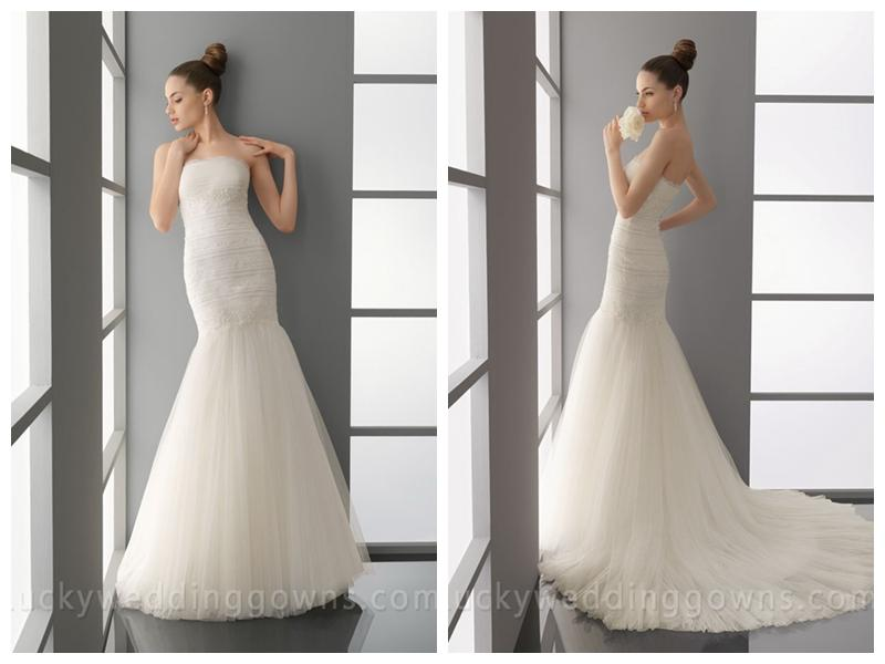 Fit And Flare Romantic Trumpet Chapel Train Wedding Dress