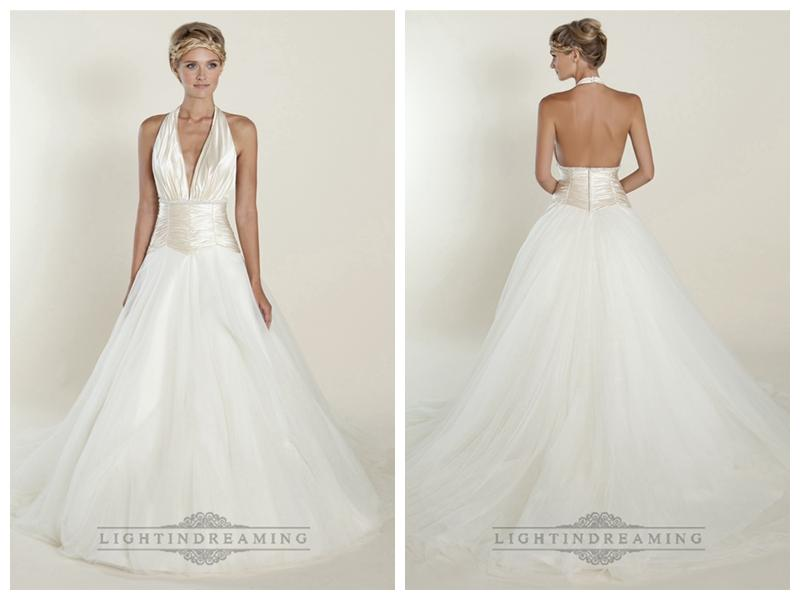 A-line Plunging Halter Ball Gown Wedding Dresses With