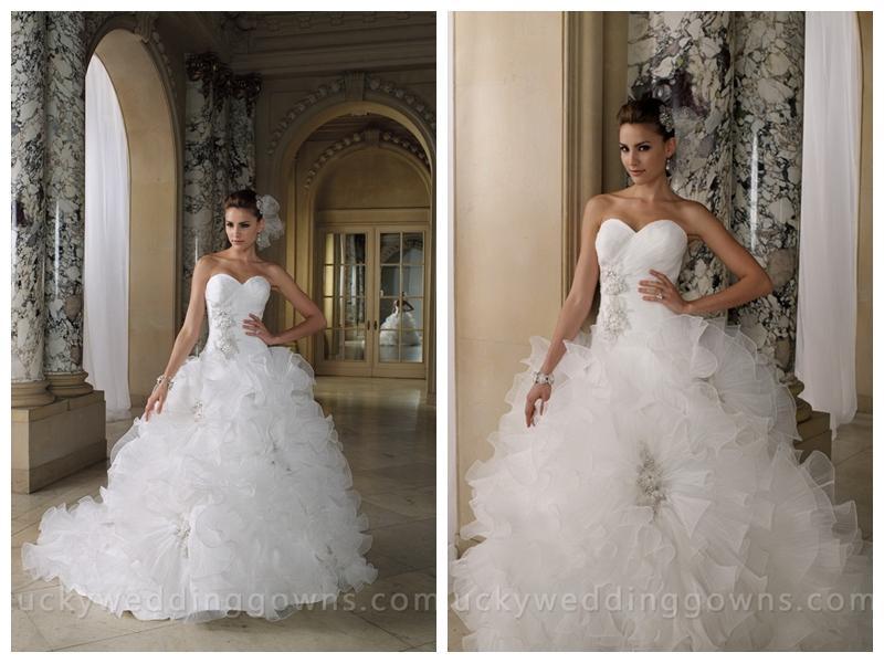 Tiered Crystal Pleated Organza Ruffled Full Skirt Wedding