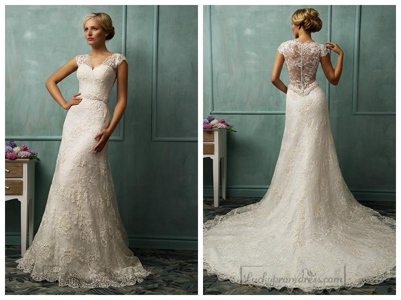 Cap Sleeves V-neckline Lace Wedding Dresses #2454437