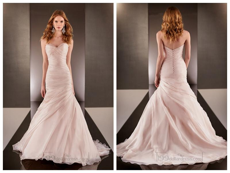 Fit And Flare Cross Sweetheart Neckline Ruched Bodice