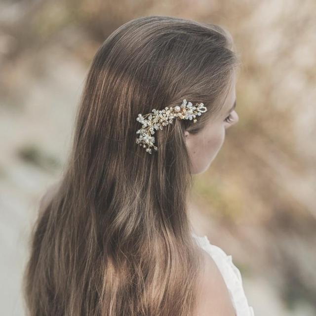 gold hair comb bridal headpiece bohemian floral wedding hair