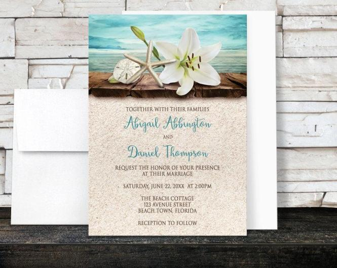 Beach Wedding Invitations And Rsvp Lily Seass Sand Beige Teal Rustic Wood Dock Tropical Destination Seaside Printed