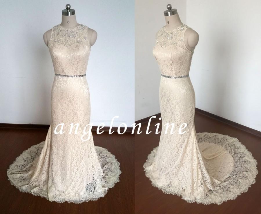 Simple Champagne Lace Wedding Dress Sheath Long/Beach