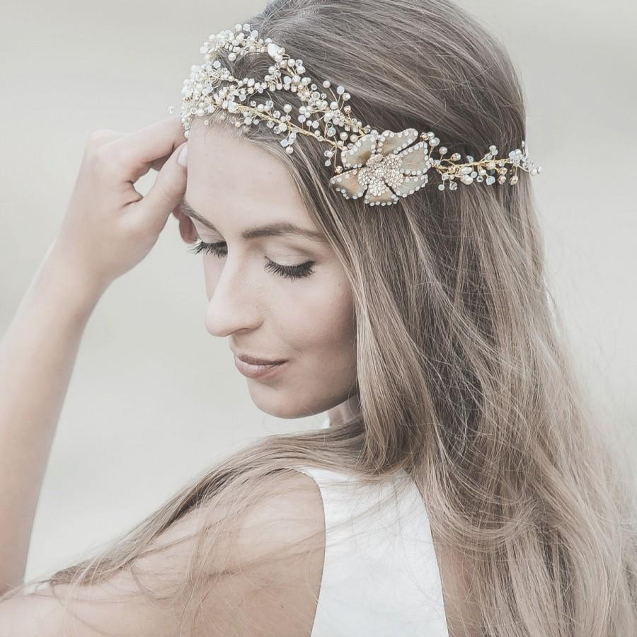 wedding hair accessories swarovski bridal headband gold forehead band wedding hair crown bohemian bridal halo tiara boho headdress