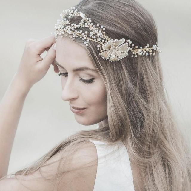 wedding hair accessories ,swarovski bridal headband ,gold