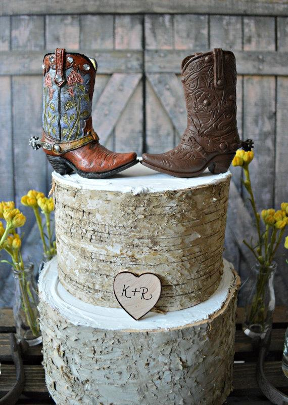 Western bride And Groom wedding cake Topper western Wedding boots     western bride and groom wedding cake topper western wedding boots cowboy cowgirl Mr  and Mrs personalized cowboy boots rustic hat country