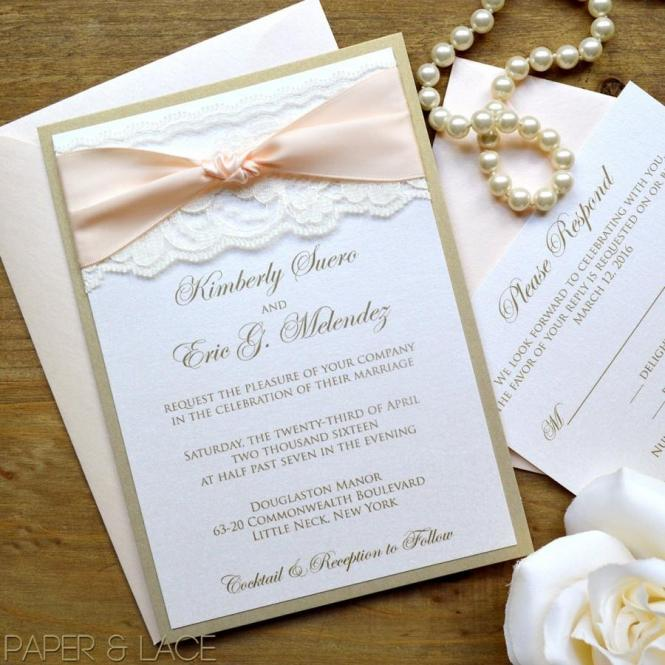 Gold And Ivory Lace Wedding Invitation Classic