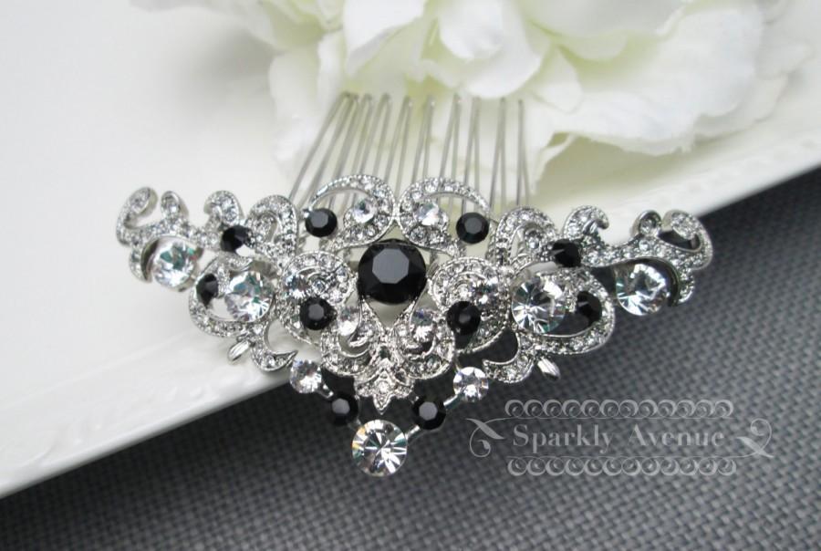 bridal hair comb black hair comb art deco hair piece jet swarovski crystal bridal hair piece wedding hair accessory bridal clip haven