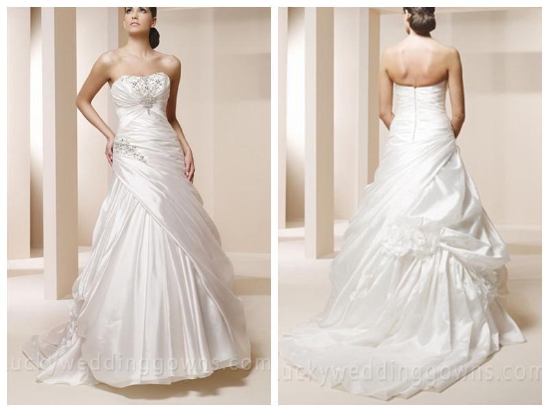 Taffeta Trumpet Bridal Ball Gown With Asymmetrical Pleated