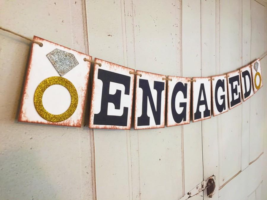 ENGAGED Banner Engagement Banner Wedding Photo Prop