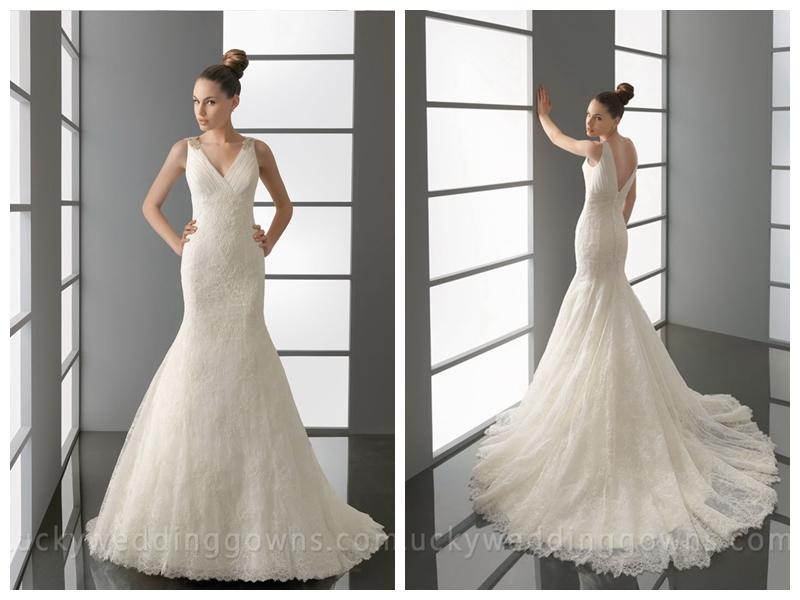V Neck And Back Embroidered Trumpet Wedding Dress With