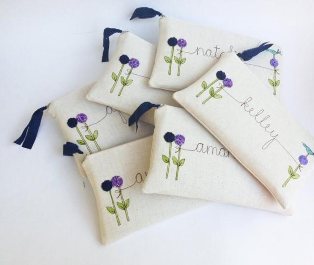 Wedding Attendant Gifts  Personalized Clutches Purple Wedding Embroidered Bridesmaid Clutch Made To Order Mamableudesigns