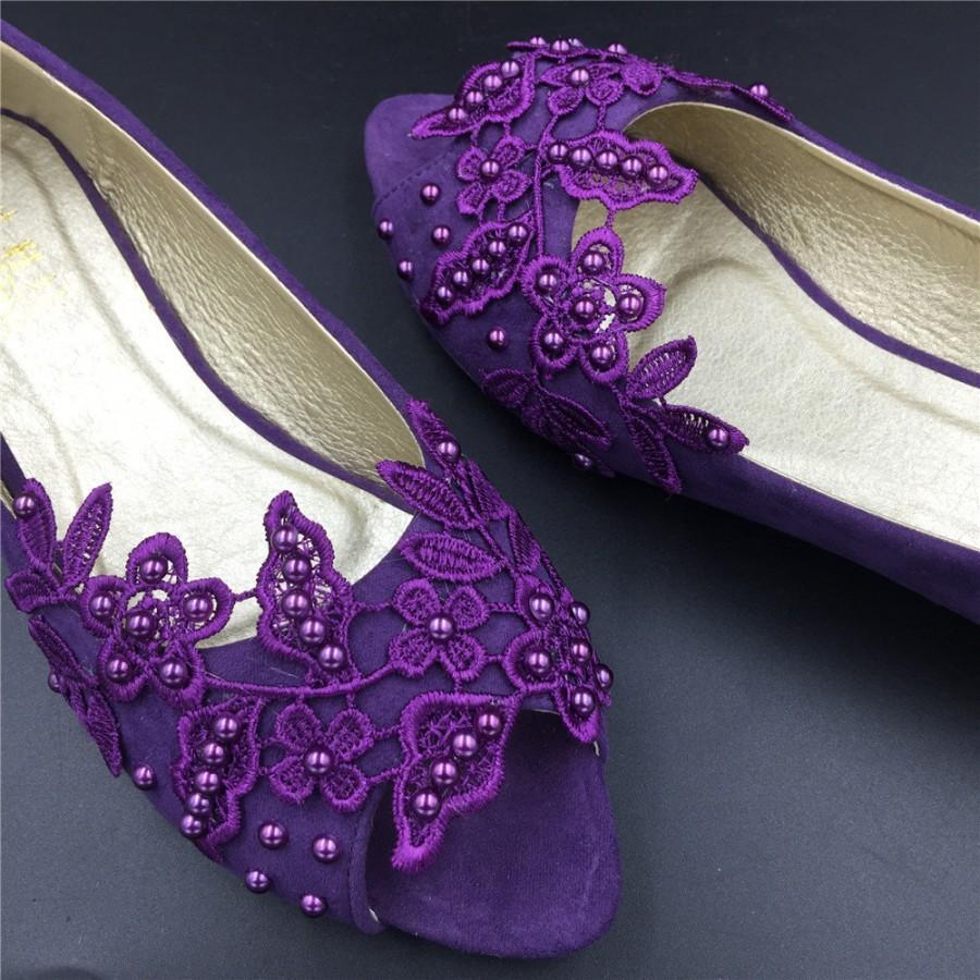 Purple Wedding Shoes Low Heel Is Heel