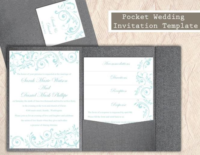 Pocket Wedding Invitation Template Set Diy Instant