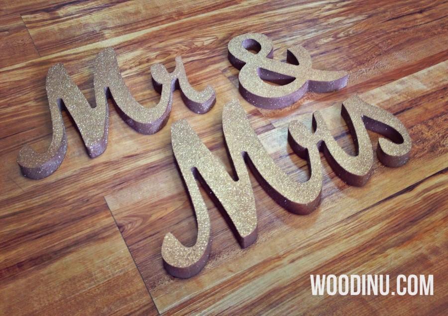 Gold Glitter Mr & Mrs Wedding Signs