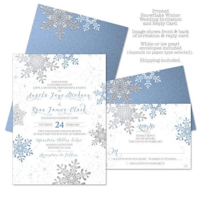 Lapis Blue Silver White Snowflake Winter Wedding Invitation