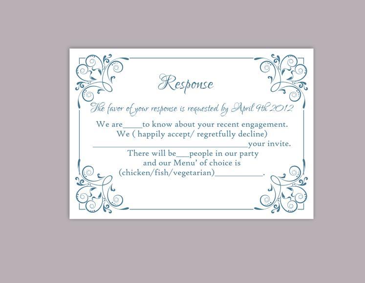 diy wedding rsvp template editable word file instant download printable rsvp cards blue rsvp card template elegant enclosure cards 2466000 weddbook